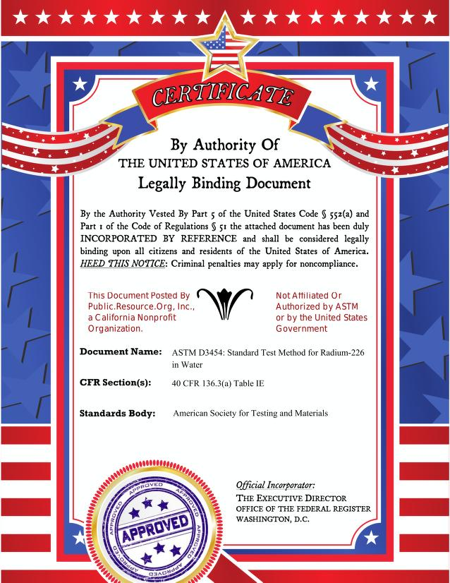 American Society for Testing and Materials - ASTM D3454: Standard Test Method for Radium-226 in Water