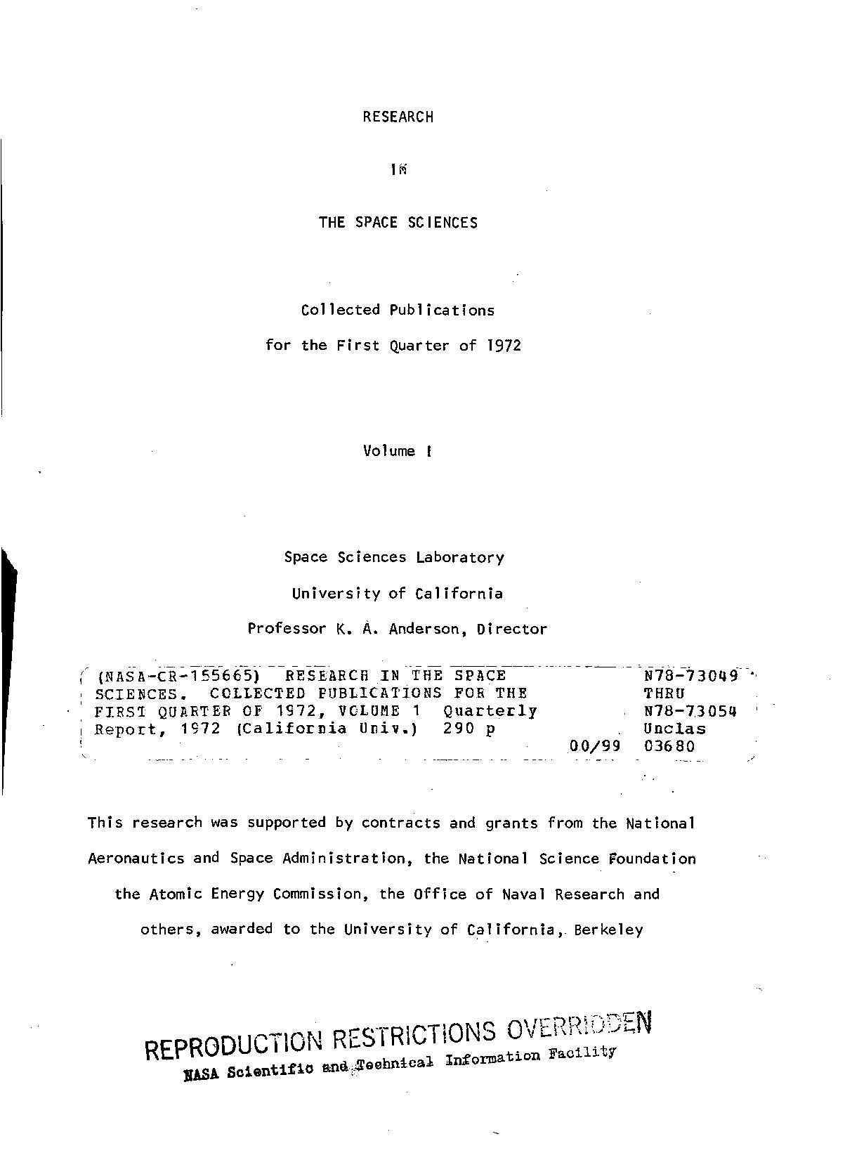 NON - Research in the space sciences. Collected publications for the first quarter of 1972, volume 1