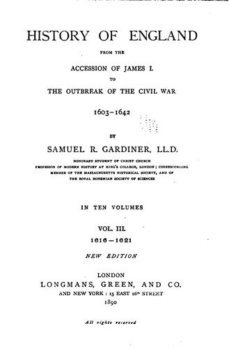 Download History of England from the accession of James I. to the outbreak of the civil war, 1603-1642