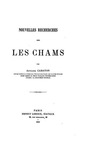 Download Nouvelles recherches sur les Chams