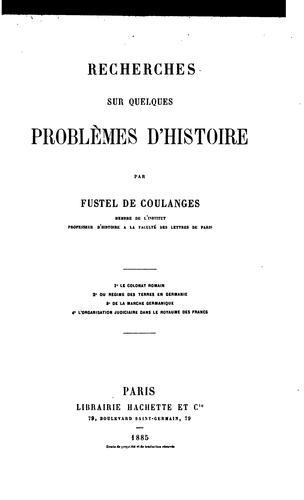 Download Recherches sur quelques problèmes d'histoire