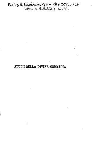 Studii sulla Divina commedia.