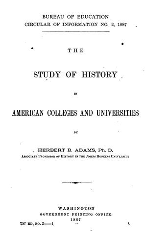 Download The study of history in American colleges and universities