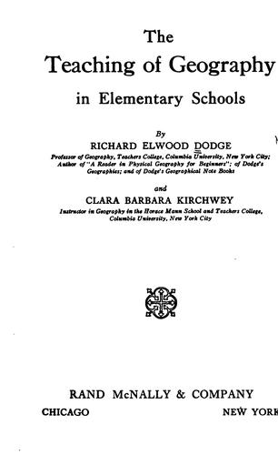 Download The teaching of geography in elementary schools