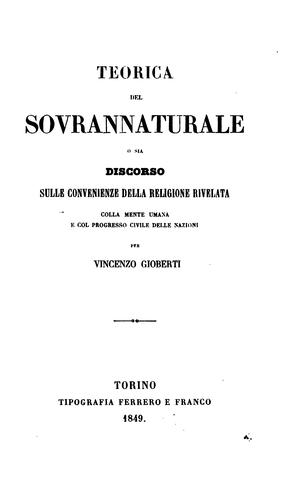 Download Teorica del sovrannaturale