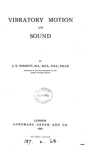 Vibratory motion and sound