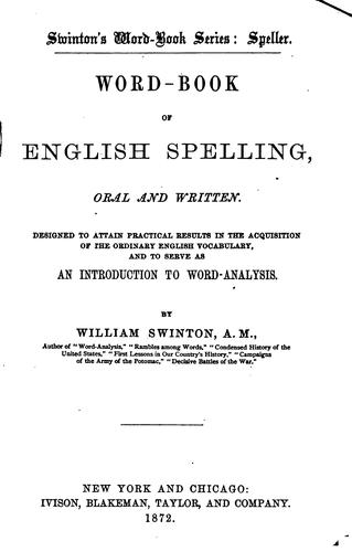 Word-book of English spelling, oral and written