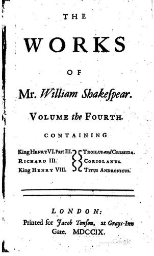 Download The works of Mr. William Shakespear