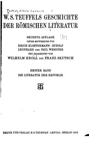 Download W. S. Teuffels Geschichte der römischen Literatur.