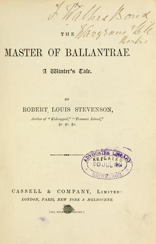 The master of Ballantrae. A winter's tale.