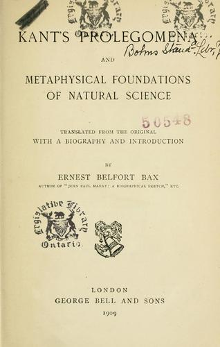 Prolegomena and metaphysical foundations of natural science.