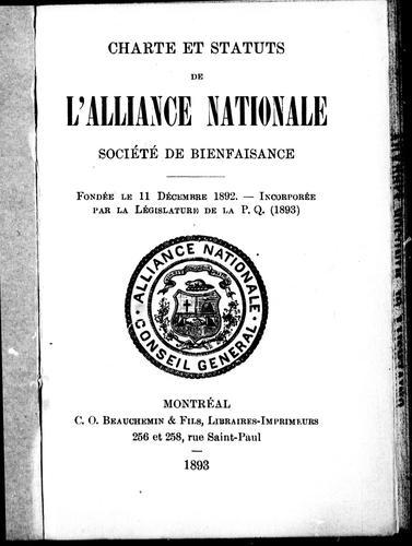 Charte et statuts de l'Alliance nationale, société de bienfaisance