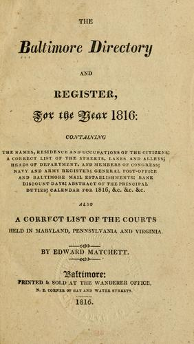 The Baltimore directory and register, for the year 1816