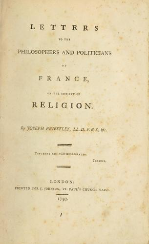 Download Letters to the philosophers and politicians of France, on the subject of religion