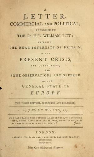 Download A letter, commercial and political, addressed to the Rt. Honble. William Pitt