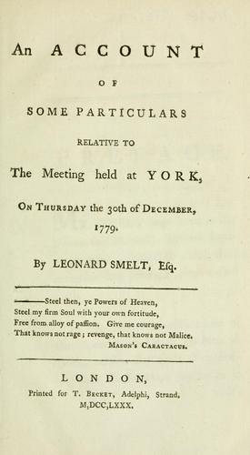 An account of some particulars relative to the meeting held at York, on Thursday the 30th of December, 1779