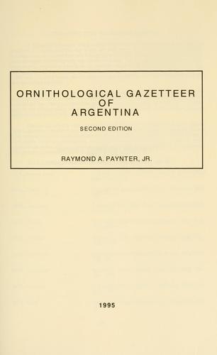 Download Ornithological gazetteer of Argentina