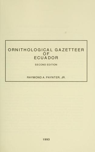 Download Ornithological gazetteer of Ecuador