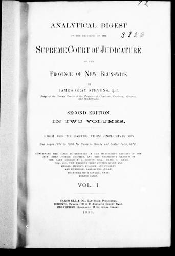 Download Analytical digest of the decisions of the Supreme Court of Judicature of the province of New Brunswick