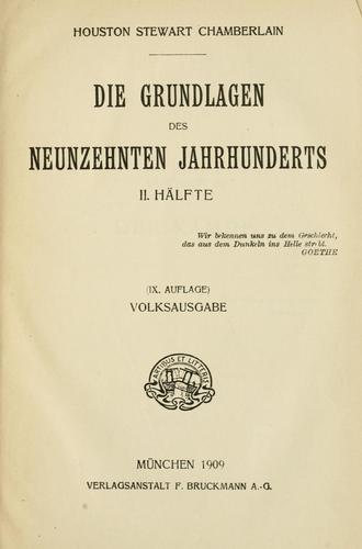 Die Grundlagen des neunzehnten Jahrhunderts …
