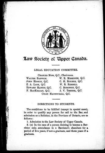 Curriculum of the Law School and curriculum of the Law Society examinations, Osgoode Hall, Toronto