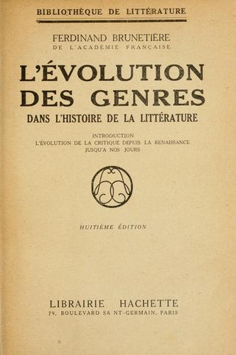 L' évolution des genres dans l'histoire de la littérature