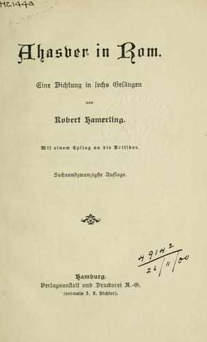 Ahasyer in Rom by Robert Hamerling