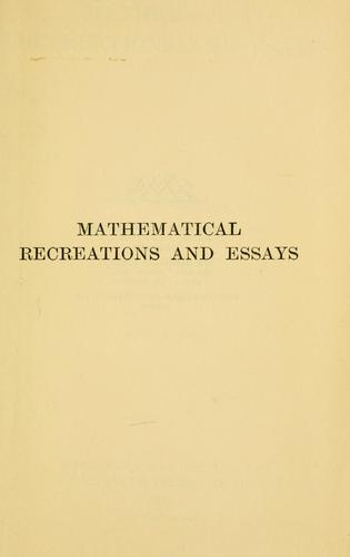Download Mathematical recreations and essays.