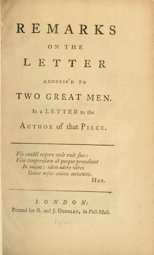 Download Remarks on the Letter address'd to two great men.