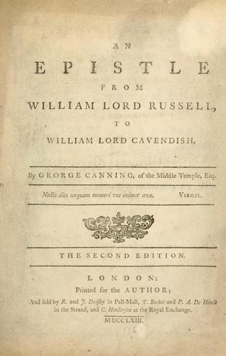 An epistle from William Lord Russell, to William Lord Cavendish