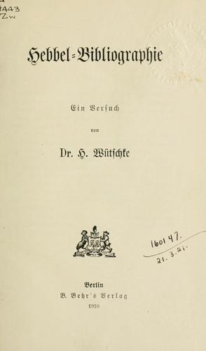 Download Hebbel-Bibliographie