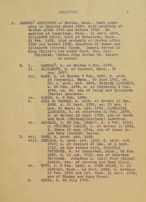 The descendants of Samuel Scripture of Groton, Massachusetts by William A. Walter