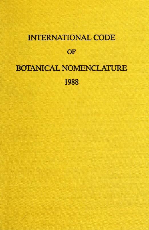 International code of botanical nomenclature by International Botanical Congress (14th 1987 Berlin, Germany)