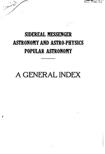 General index to Sidereal messenger by William Wallace Payne