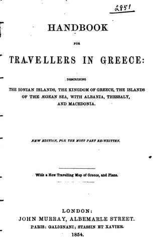 Handbook for travellers in Greece by Murray, John, publisher, London