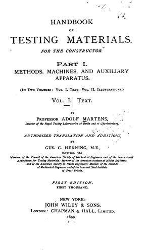 Handbook of testing materials by Adolf Martens