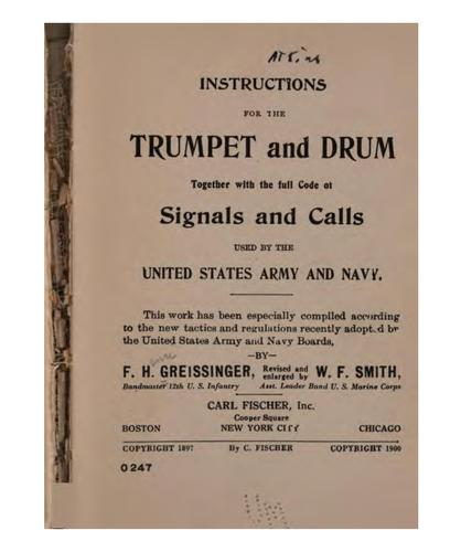 Instructions for the trumpet and drum by Greissinger, F. Henri