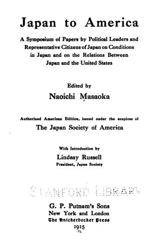 Japan to America by Naoichi Masaoka