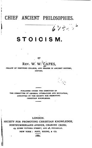 Stoicism by William Wolfe Capes