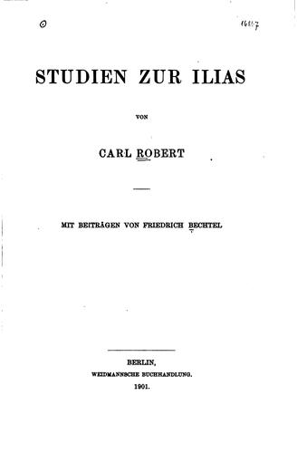 Studien zur Ilias von Carl Robert by Carl Robert