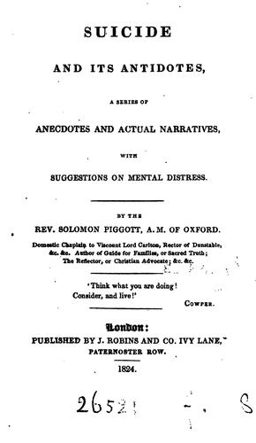 Suicide and its antidotes by Solomon Piggott