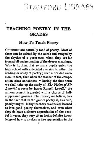 Teaching poetry in the grades by Margaret Winifred Haliburton