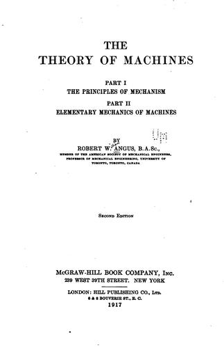 The theory of machines by Robert William Angus