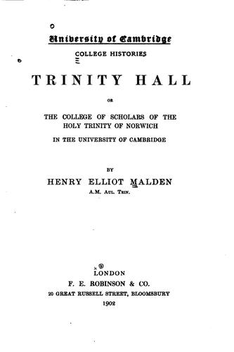 Trinity hall by Henry Elliot Malden
