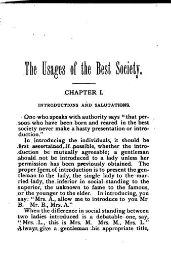 The usages of the best society by Frances Stevens