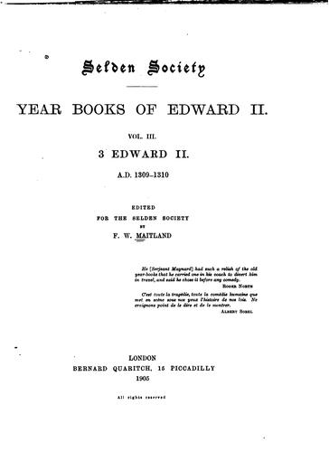 Year books of Edward II by Great Britain. Year-books, 1307-1327 (Edward II)
