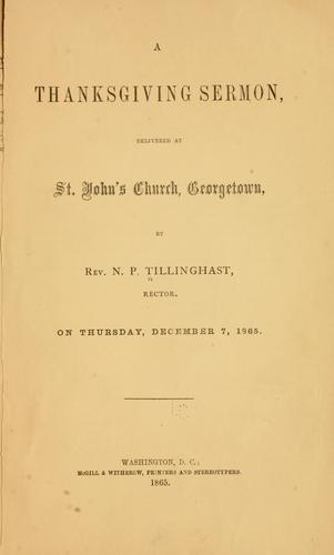 A thanksgiving sermon by Nicholas Power Tillinghast