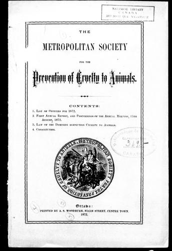 The Metropolitan Society for the Prevention of Cruelty to Animals by Metropolitan Society for the Prevention of Cruelty to Animals (Ottawa, Ont.).