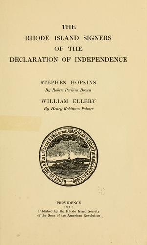 The Rhode Island signers of the Declaration of independence by Robert Perkins Brown