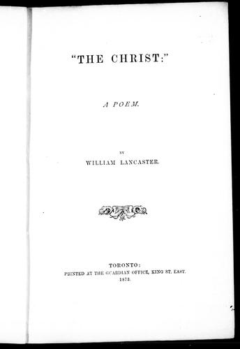 The Christ by William Lancaster